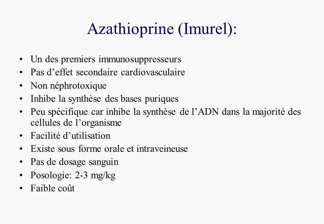 Azathioprine (Imurel): Un des premiers immunosuppresseurs Pas deffet secondaire cardiovasculaire Non néphrotoxique Inhibe la synthèse des bases puriques Peu spécifique car inhibe la synthèse de lADN dans la majorité des cellules de lorganisme Facilité dutilisation Existe sous forme orale et intraveineuse Pas de dosage sanguin Posologie: 2-3 mg/kg Faible coût