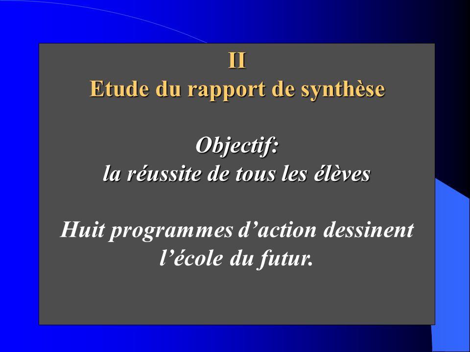 II Etude du rapport de synthèse Objectif: la réussite de tous les élèves Huit programmes daction dessinent lécole du futur.