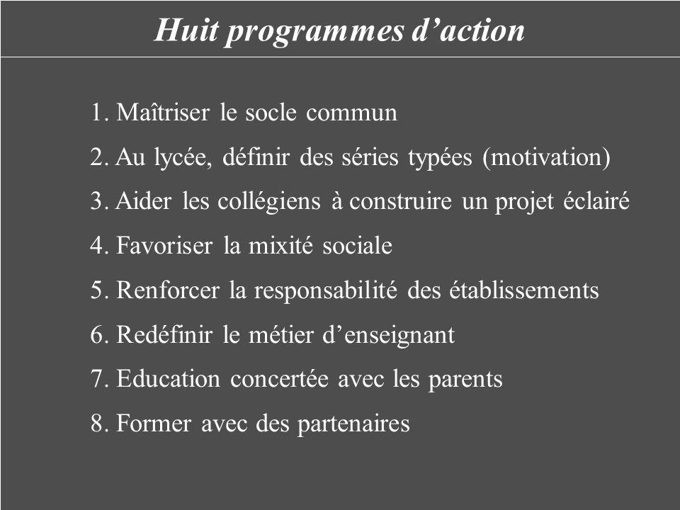 Huit programmes daction 1. Maîtriser le socle commun 2. Au lycée, définir des séries typées (motivation) 3. Aider les collégiens à construire un proje