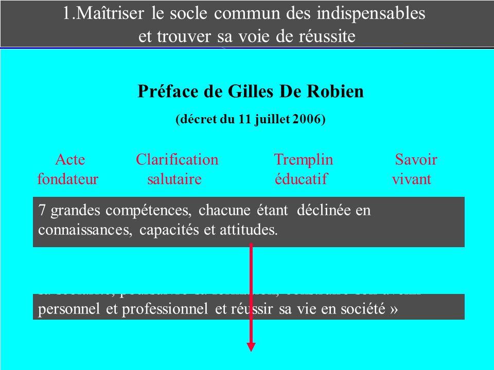 1.Maîtriser le socle commun des indispensables et trouver sa voie de réussite Préface de Gilles De Robien (décret du 11 juillet 2006) Acte fondateur C