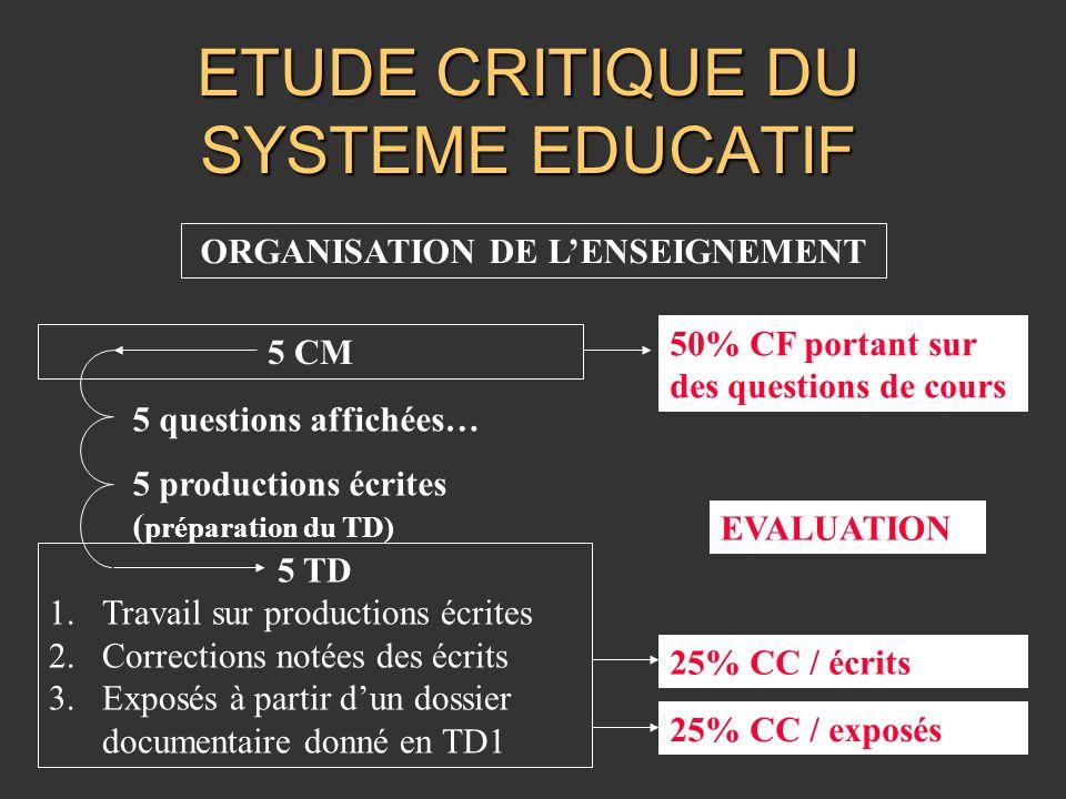 ETUDE CRITIQUE DU SYSTEME EDUCATIF ORGANISATION DE LENSEIGNEMENT 5 CM 5 TD 1.Travail sur productions écrites 2.Corrections notées des écrits 3.Exposés