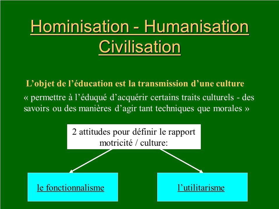 Hominisation - Humanisation Civilisation Lobjet de léducation est la transmission dune culture « permettre à léduqué dacquérir certains traits culture