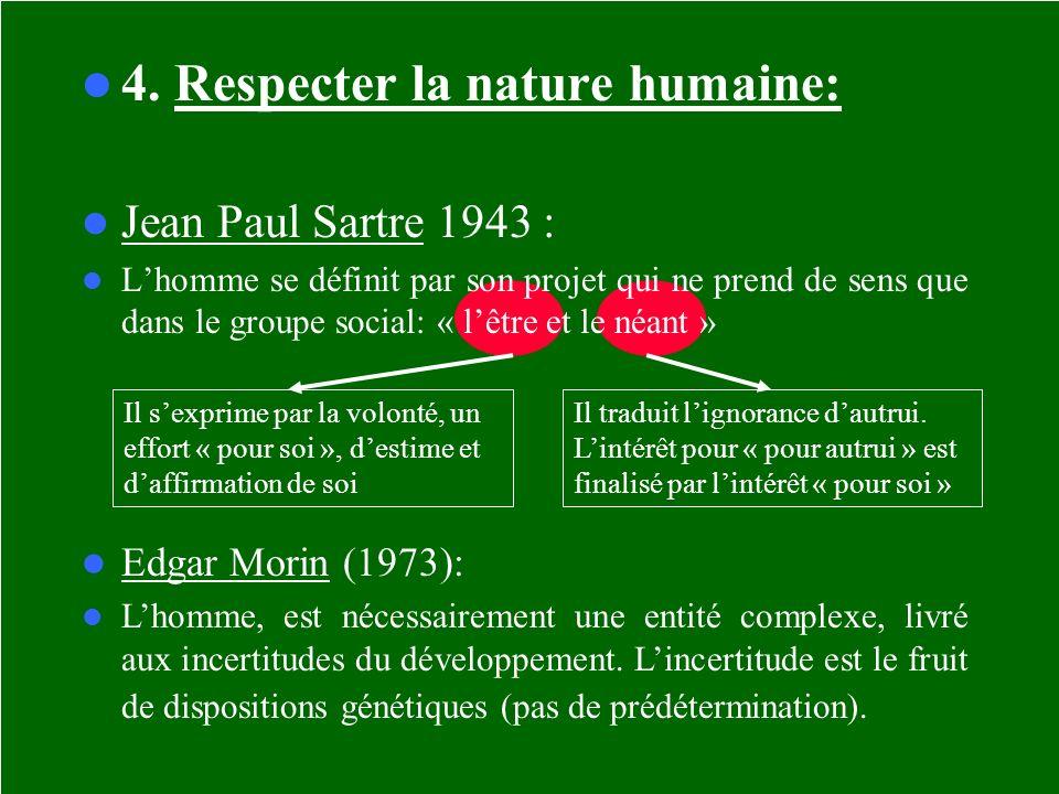 4. Respecter la nature humaine: Jean Paul Sartre 1943 : Lhomme se définit par son projet qui ne prend de sens que dans le groupe social: « lêtre et le