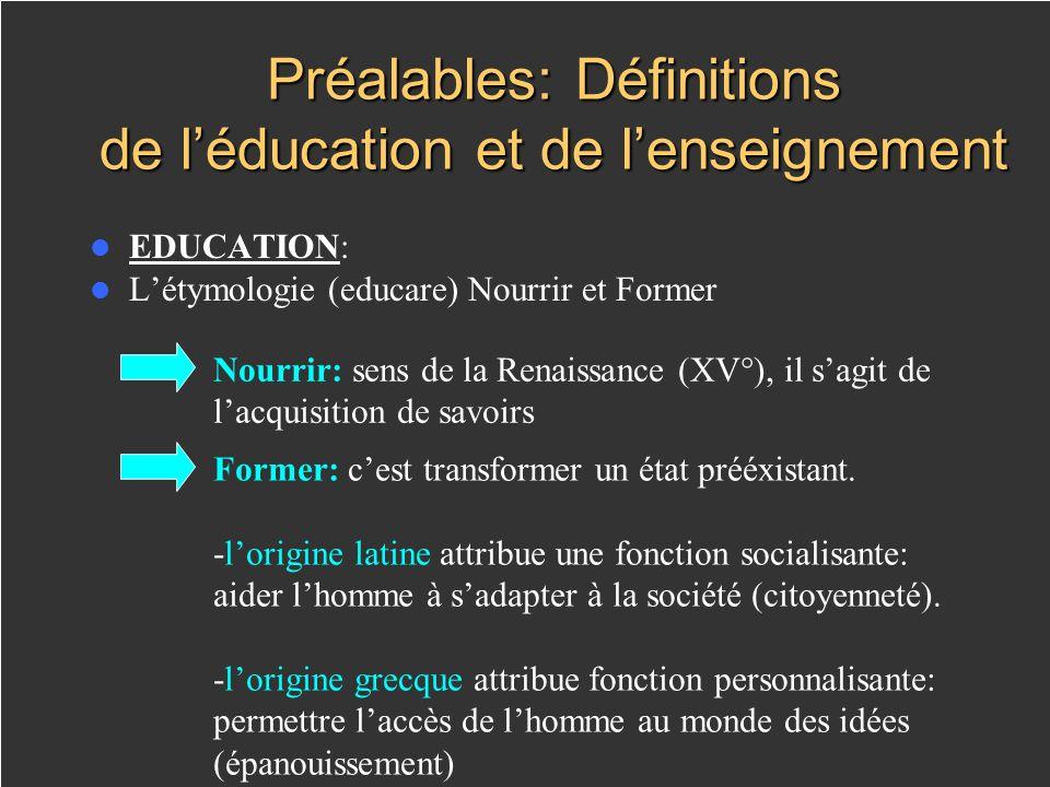 Préalables: Définitions de léducation et de lenseignement EDUCATION: Létymologie (educare) Nourrir et Former Nourrir: sens de la Renaissance (XV°), il