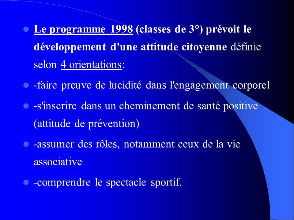 Le programme 1998 (classes de 3°) prévoit le développement d'une attitude citoyenne définie selon 4 orientations: -faire preuve de lucidité dans l'eng