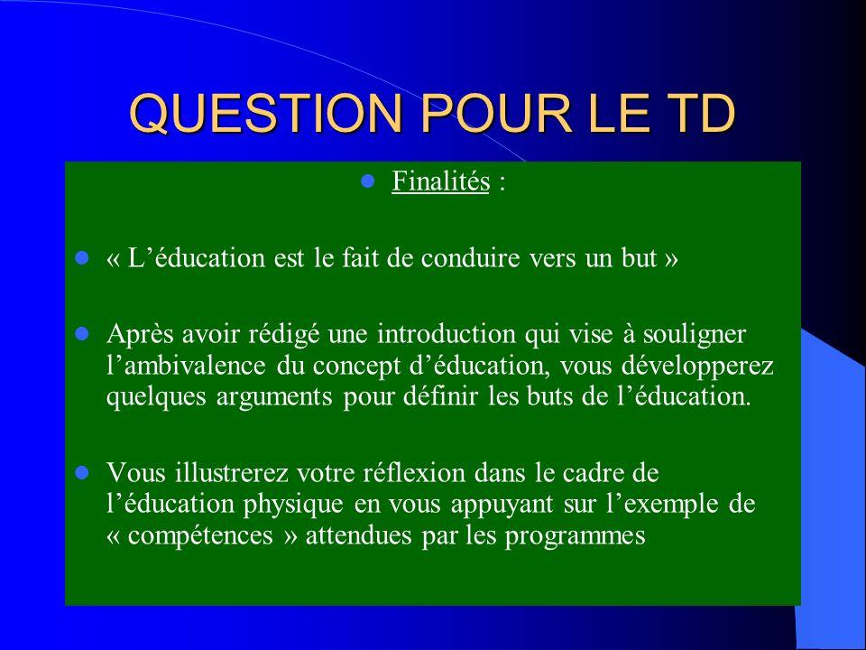 QUESTION POUR LE TD Finalités : « Léducation est le fait de conduire vers un but » Après avoir rédigé une introduction qui vise à souligner lambivalen