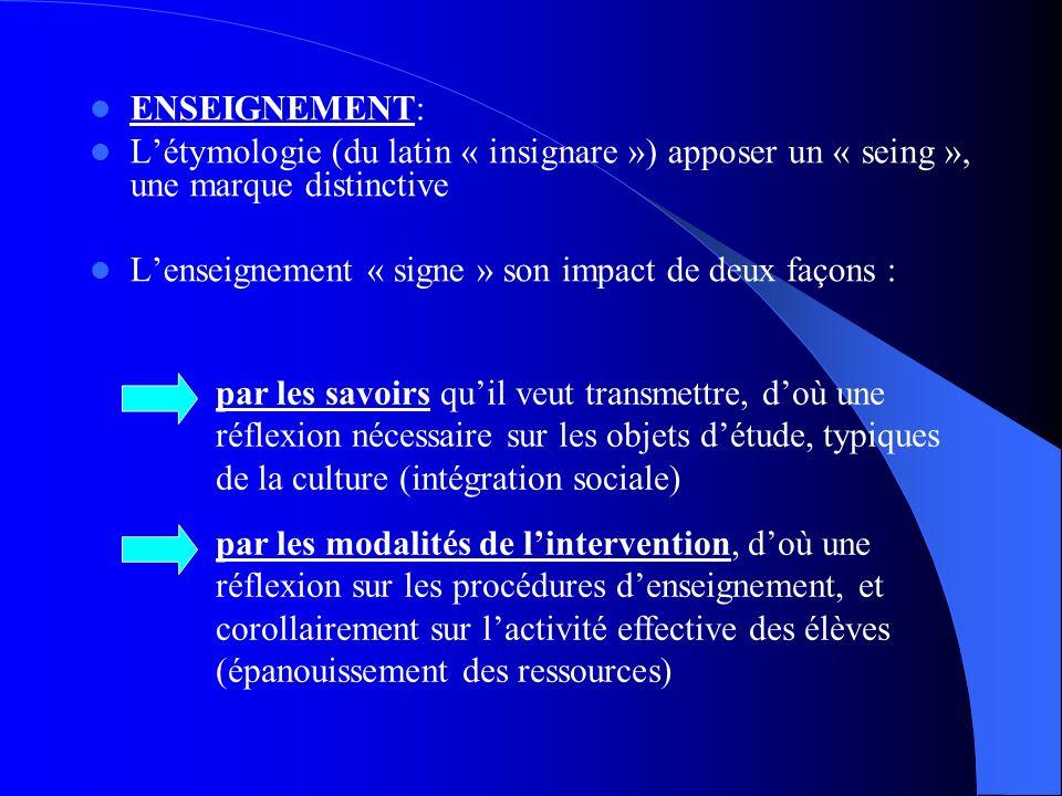 ENSEIGNEMENT: Létymologie (du latin « insignare ») apposer un « seing », une marque distinctive Lenseignement « signe » son impact de deux façons : pa