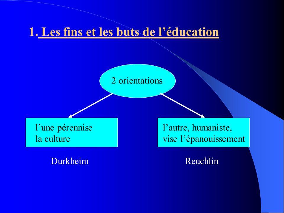 2 orientations lune pérennise la culture Durkheim lautre, humaniste, vise lépanouissement 1. Les fins et les buts de léducation Reuchlin