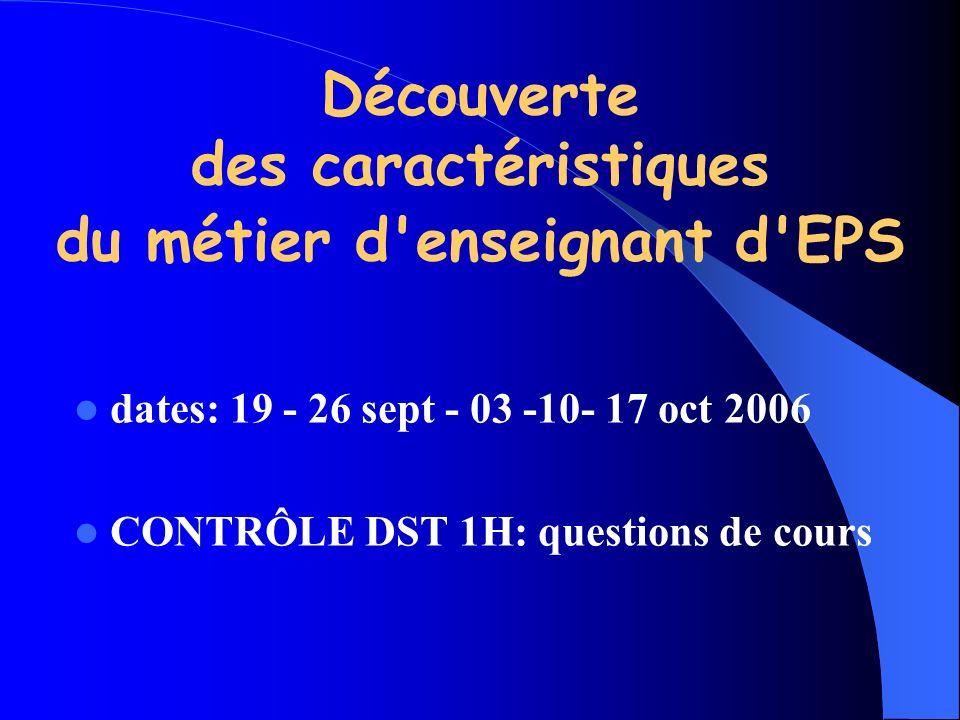 Découverte des caractéristiques du métier d'enseignant d'EPS dates: 19 - 26 sept - 03 -10- 17 oct 2006 CONTRÔLE DST 1H: questions de cours