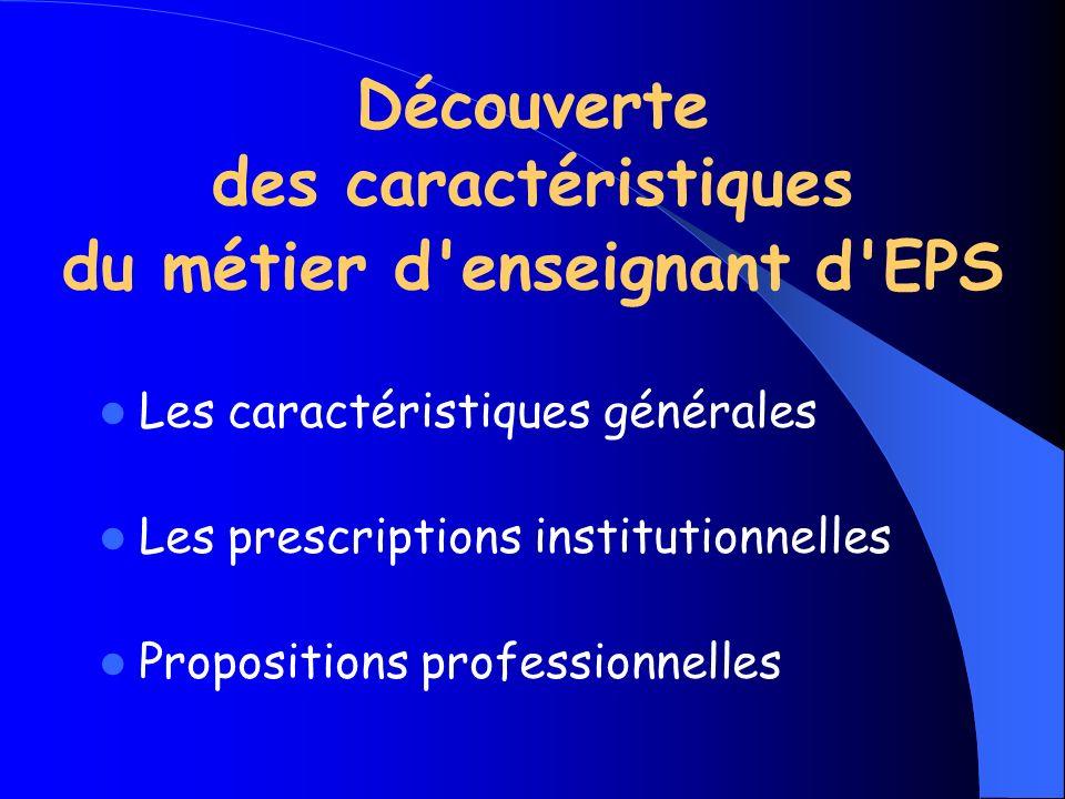 Découverte des caractéristiques du métier d'enseignant d'EPS Les caractéristiques générales Les prescriptions institutionnelles Propositions professio