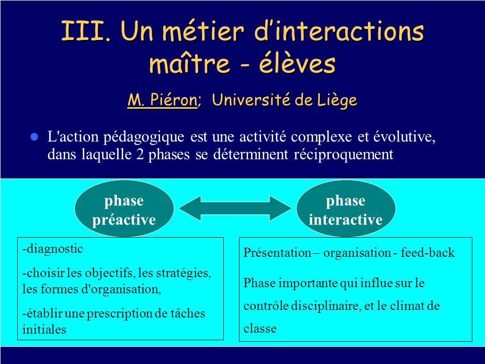 III. Un métier dinteractions maître - élèves M. Piéron; Université de Liège L'action pédagogique est une activité complexe et évolutive, dans laquelle