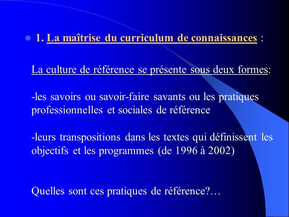 1. La maîtrise du curriculum de connaissances : La culture de référence se présente sous deux formes: -les savoirs ou savoir-faire savants ou les prat