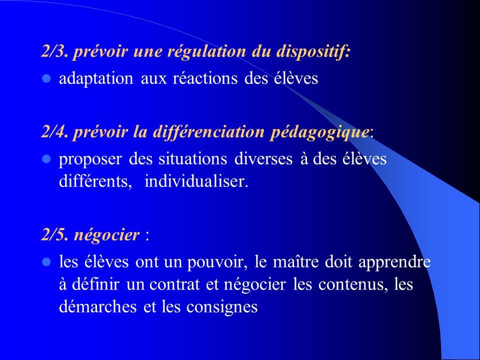 2/3. prévoir une régulation du dispositif: adaptation aux réactions des élèves 2/4. prévoir la différenciation pédagogique: proposer des situations di