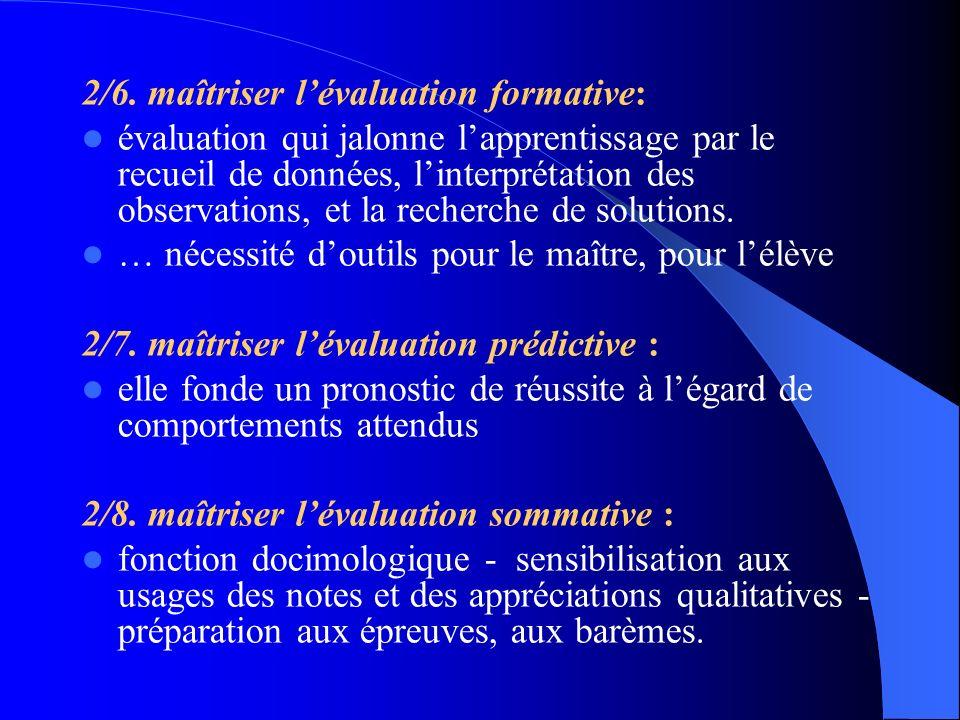2/6. maîtriser lévaluation formative: évaluation qui jalonne lapprentissage par le recueil de données, linterprétation des observations, et la recherc