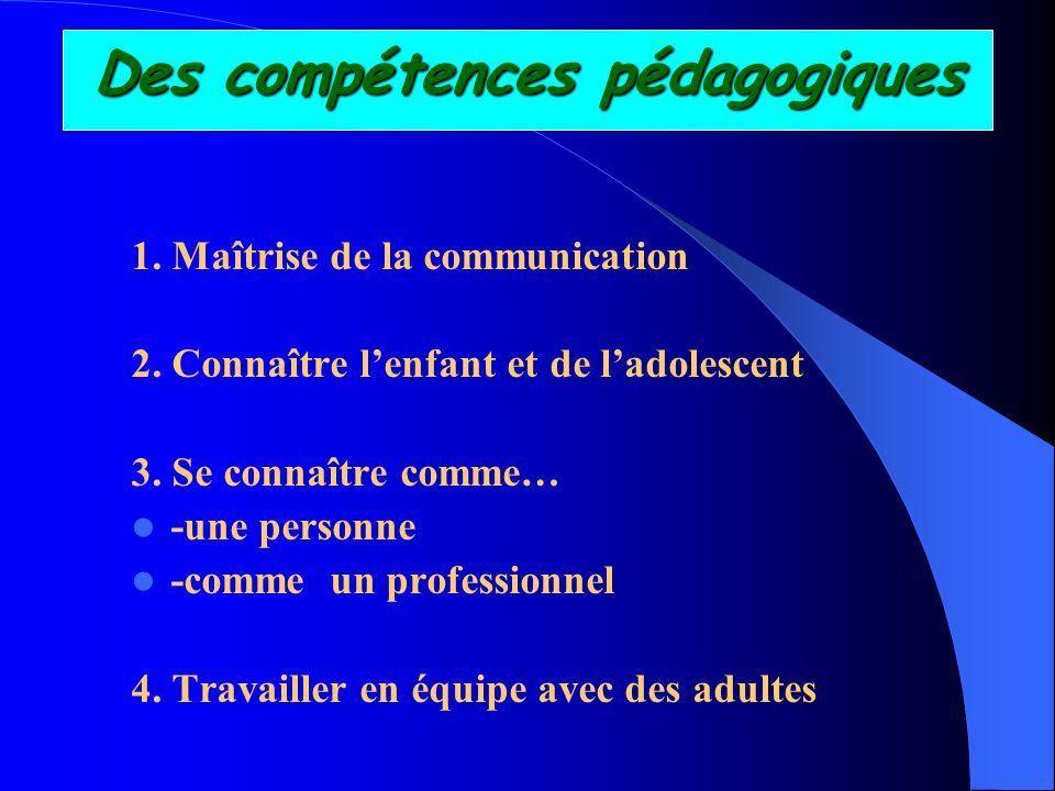 Des compétences pédagogiques 1. Maîtrise de la communication 2. Connaître lenfant et de ladolescent 3. Se connaître comme… -une personne -comme un pro