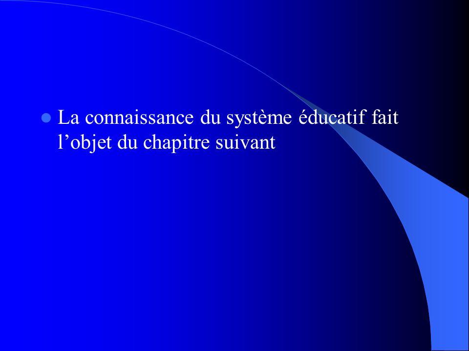 La connaissance du système éducatif fait lobjet du chapitre suivant