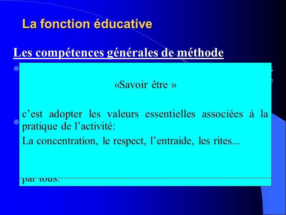 La fonction éducative Les compétences générales de méthode Elles se concrétisent par des compétences générales nécessaires à laction, aux interactions, et au respect de valeurs associées.