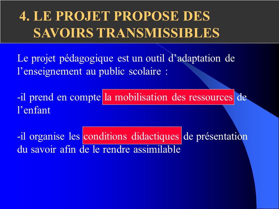 4. LE PROJET PROPOSE DES SAVOIRS TRANSMISSIBLES Le projet pédagogique est un outil dadaptation de lenseignement au public scolaire : -il prend en comp