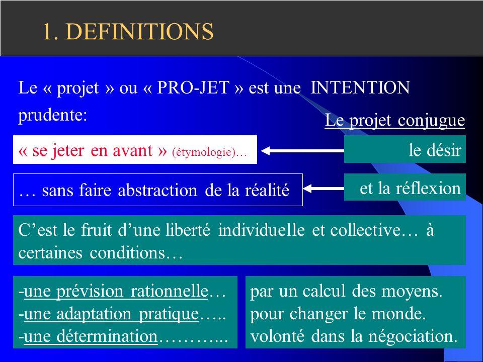 1.DEFINITIONS Le « projet » ou « PRO-JET » est une INTENTION prudente: -une prévision rationnelle… -une adaptation pratique…..