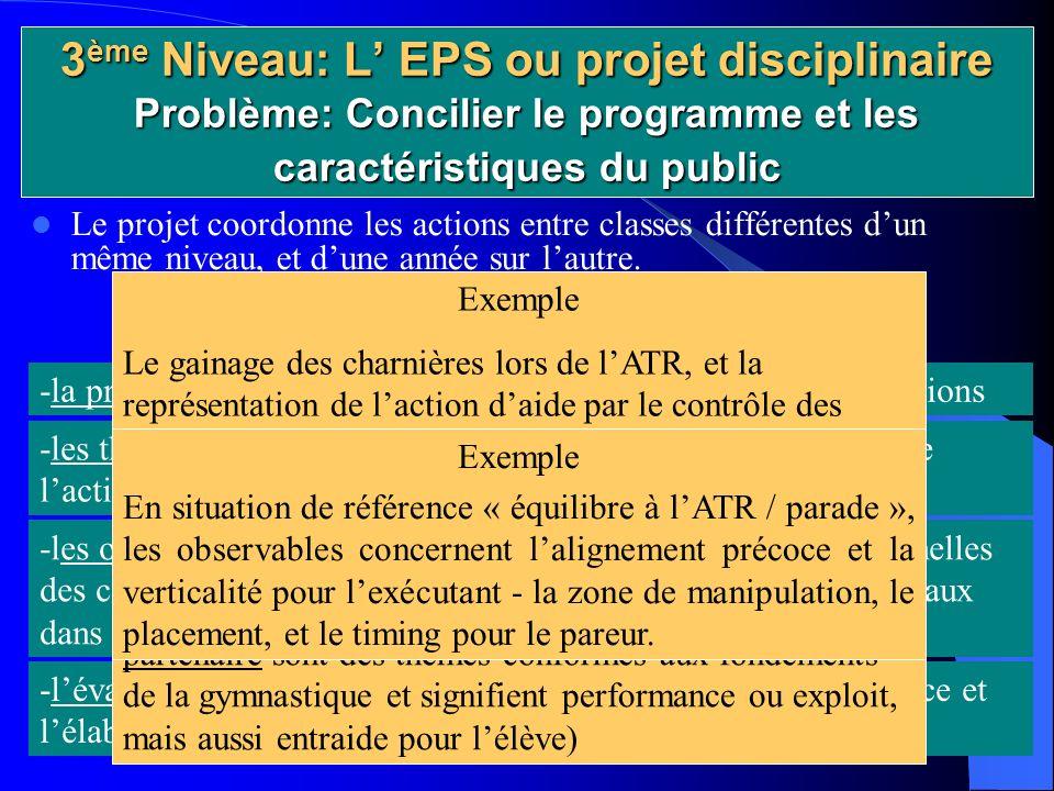 3 ème Niveau: L EPS ou projet disciplinaire Problème: Concilier le programme et les caractéristiques du public Le projet coordonne les actions entre classes différentes dun même niveau, et dune année sur lautre.