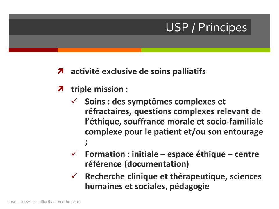 USP / Principes CRSP - DU Soins palliatifs 21 octobre 2010 activité exclusive de soins palliatifs triple mission : Soins : des symptômes complexes et