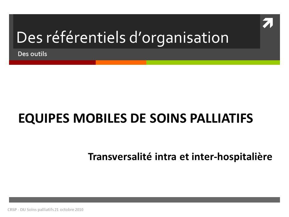 Des référentiels dorganisation Des outils CRSP - DU Soins palliatifs 21 octobre 2010 EQUIPES MOBILES DE SOINS PALLIATIFS Transversalité intra et inter-hospitalière