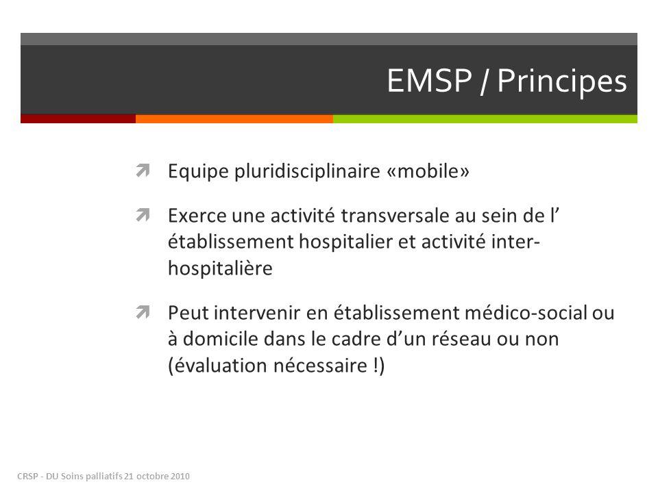 EMSP / Principes Equipe pluridisciplinaire «mobile» Exerce une activité transversale au sein de l établissement hospitalier et activité inter- hospita