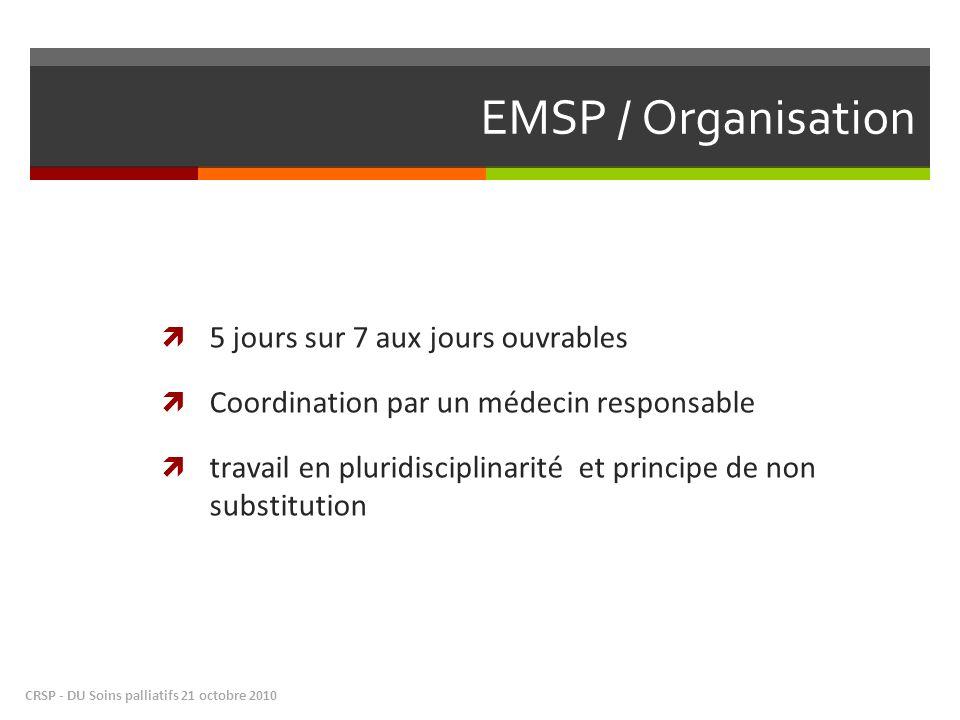 EMSP / Organisation 5 jours sur 7 aux jours ouvrables Coordination par un médecin responsable travail en pluridisciplinarité et principe de non substitution CRSP - DU Soins palliatifs 21 octobre 2010