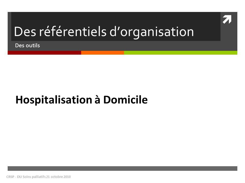 Des référentiels dorganisation Des outils CRSP - DU Soins palliatifs 21 octobre 2010 Hospitalisation à Domicile