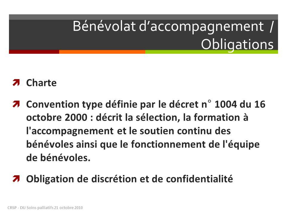 Bénévolat daccompagnement / Obligations Charte Convention type définie par le décret n° 1004 du 16 octobre 2000 : décrit la sélection, la formation à l accompagnement et le soutien continu des bénévoles ainsi que le fonctionnement de l équipe de bénévoles.