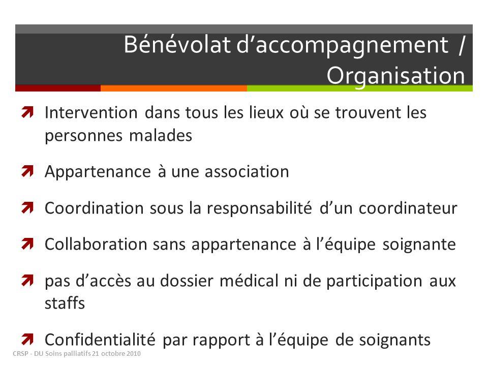 Bénévolat daccompagnement / Organisation Intervention dans tous les lieux où se trouvent les personnes malades Appartenance à une association Coordina
