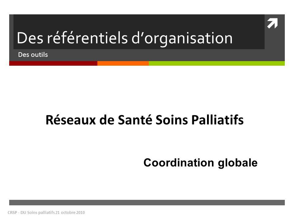 Des référentiels dorganisation Des outils CRSP - DU Soins palliatifs 21 octobre 2010 Réseaux de Santé Soins Palliatifs Coordination globale