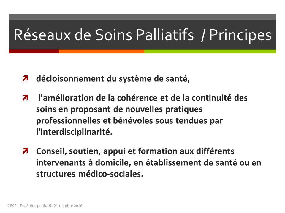 Réseaux de Soins Palliatifs / Principes décloisonnement du système de santé, lamélioration de la cohérence et de la continuité des soins en proposant