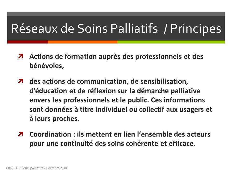 Réseaux de Soins Palliatifs / Principes Actions de formation auprès des professionnels et des bénévoles, des actions de communication, de sensibilisation, d éducation et de réflexion sur la démarche palliative envers les professionnels et le public.