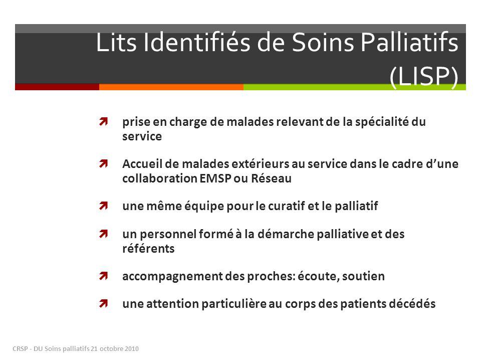 Lits Identifiés de Soins Palliatifs (LISP) prise en charge de malades relevant de la spécialité du service Accueil de malades extérieurs au service da