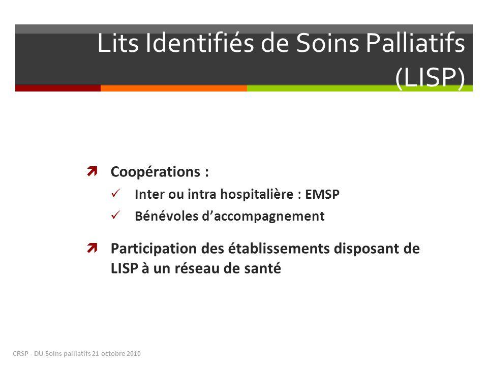 Lits Identifiés de Soins Palliatifs (LISP) Coopérations : Inter ou intra hospitalière : EMSP Bénévoles daccompagnement Participation des établissement