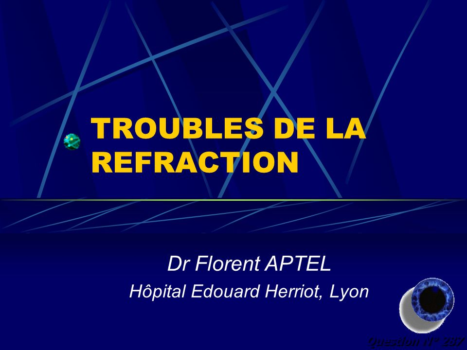 TROUBLES DE LA REFRACTION Dr Florent APTEL Hôpital Edouard Herriot, Lyon Question N° 287
