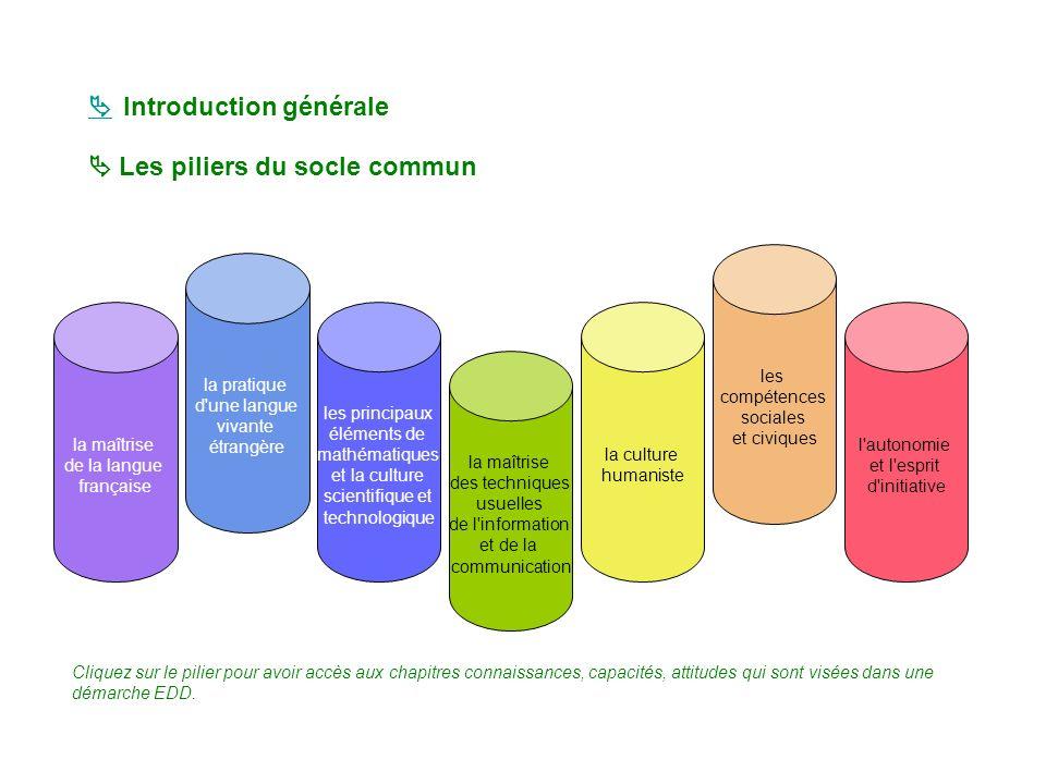 Les piliers du socle commun la maîtrise de la langue française la pratique d'une langue vivante étrangère les principaux éléments de mathématiques et