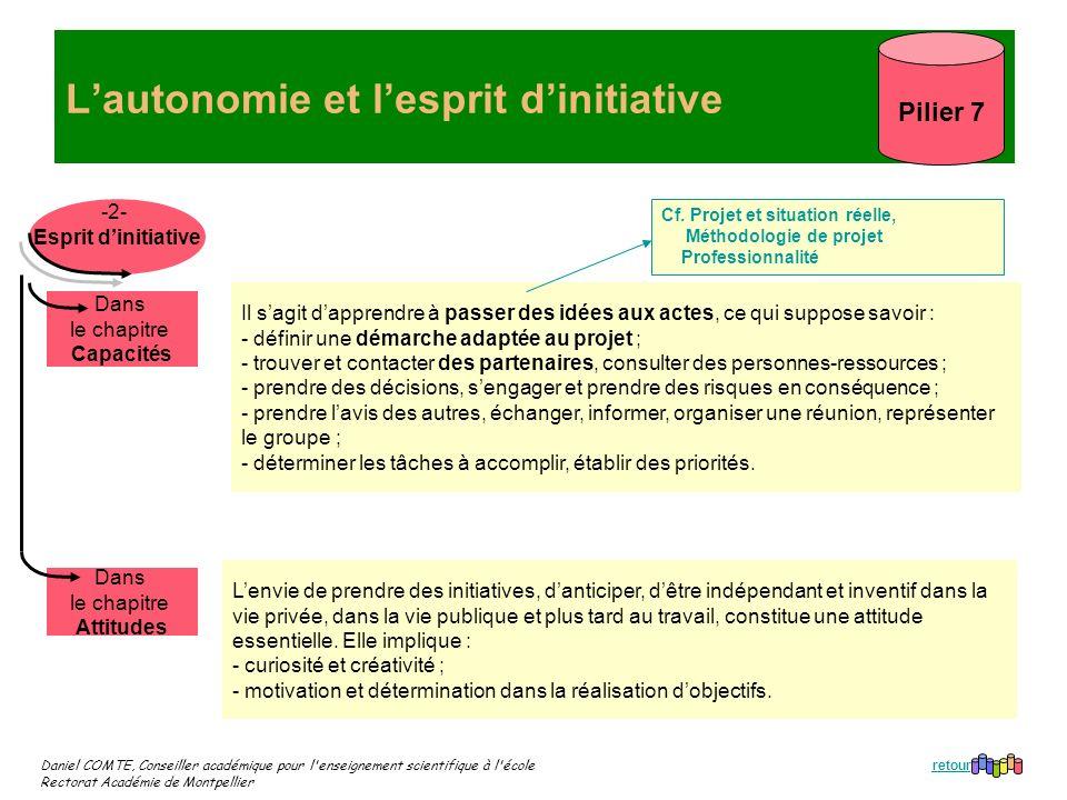 Daniel COMTE, Conseiller académique pour l'enseignement scientifique à l'école Rectorat Académie de Montpellier Lautonomie et lesprit dinitiative Pili