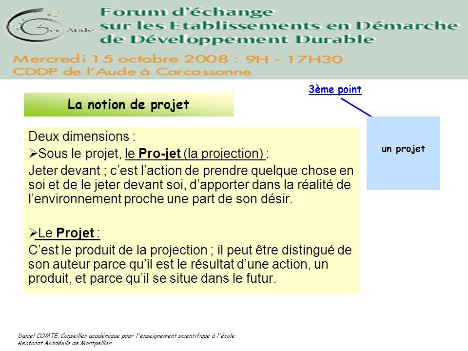Daniel COMTE, Conseiller académique pour l'enseignement scientifique à l'école Rectorat Académie de Montpellier Deux dimensions : Sous le projet, le P
