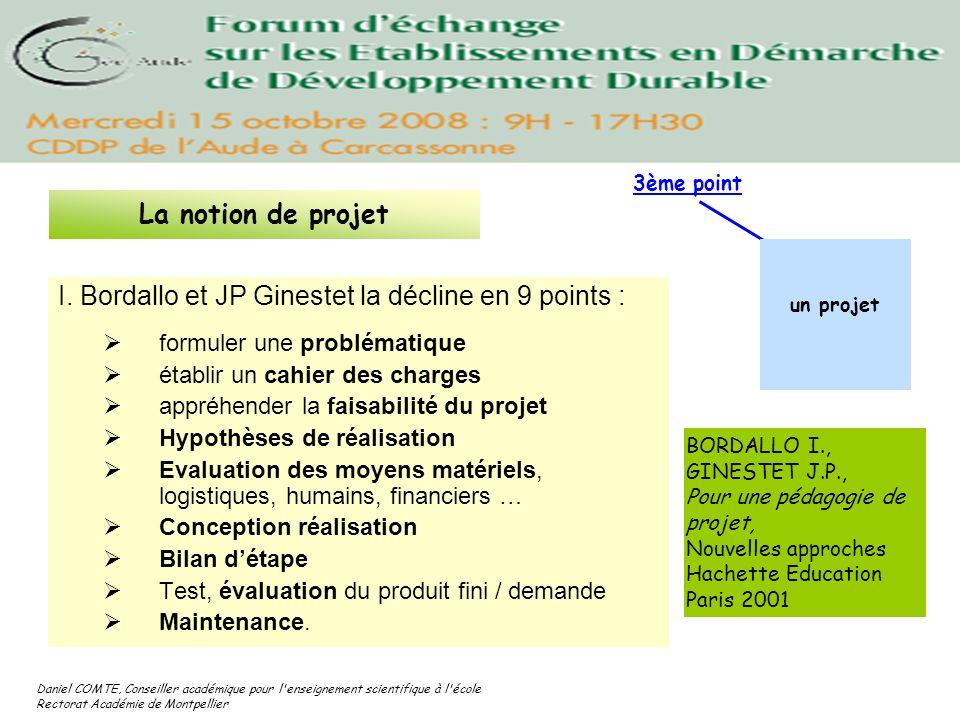 Daniel COMTE, Conseiller académique pour l'enseignement scientifique à l'école Rectorat Académie de Montpellier I. Bordallo et JP Ginestet la décline