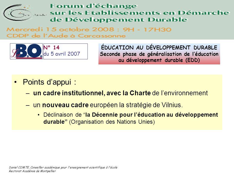 Daniel COMTE, Conseiller académique pour l'enseignement scientifique à l'école Rectorat Académie de Montpellier N° 14 du 5 avril 2007 ÉDUCATION AU DÉV