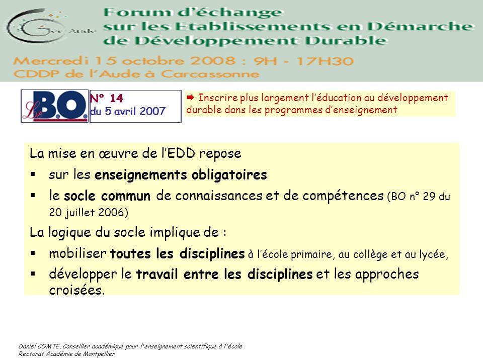 Daniel COMTE, Conseiller académique pour l'enseignement scientifique à l'école Rectorat Académie de Montpellier La mise en œuvre de lEDD repose sur le