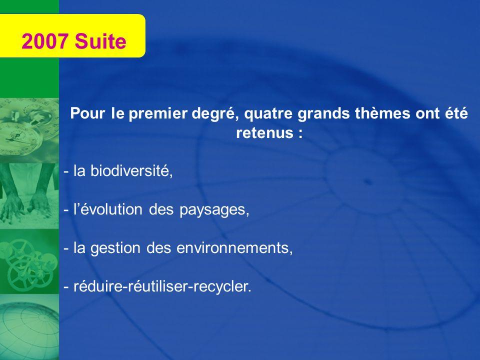Pour le premier degré, quatre grands thèmes ont été retenus : - la biodiversité, - lévolution des paysages, - la gestion des environnements, - réduire