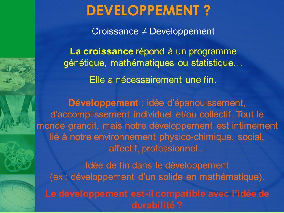DEVELOPPEMENT ? Croissance Développement Développement : idée dépanouissement, daccomplissement individuel et/ou collectif. Tout le monde grandit, mai