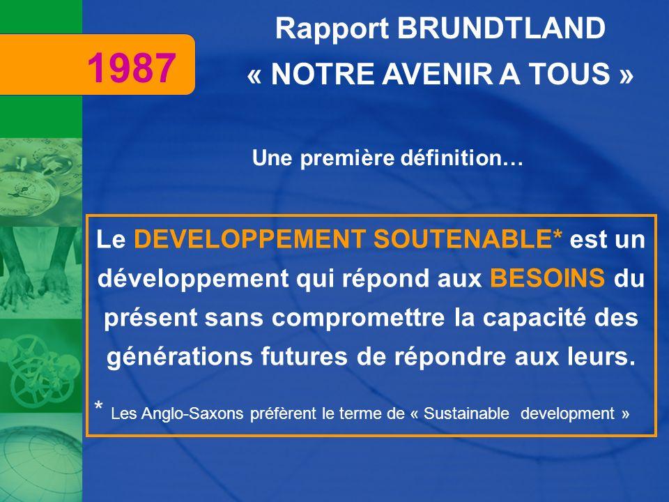 Rapport BRUNDTLAND « NOTRE AVENIR A TOUS » Le DEVELOPPEMENT SOUTENABLE* est un développement qui répond aux BESOINS du présent sans compromettre la ca