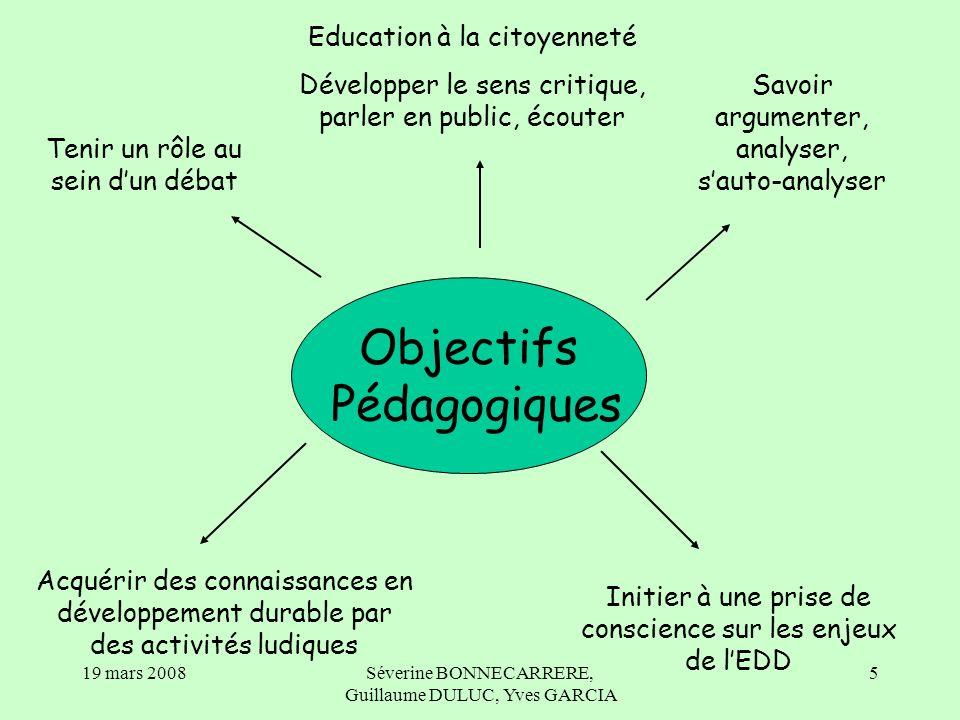 19 mars 2008Séverine BONNECARRERE, Guillaume DULUC, Yves GARCIA 16 5/ Le débat Mise en place de la classe Présentation des rôles et fonctionnement.