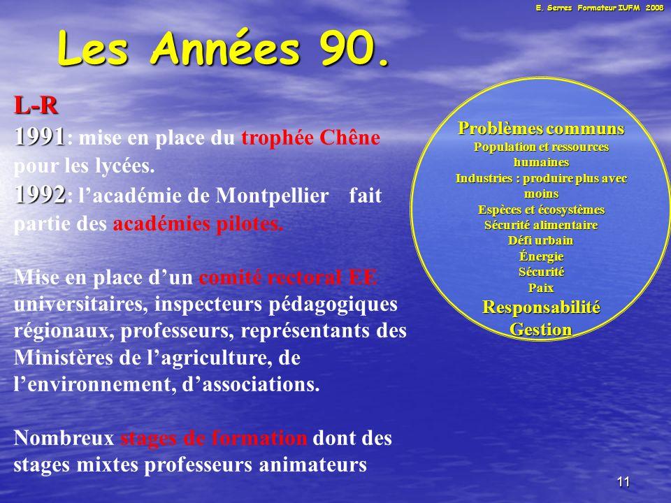 11 Les Années 90. L-R 1991 1991 : mise en place du trophée Chêne pour les lycées.
