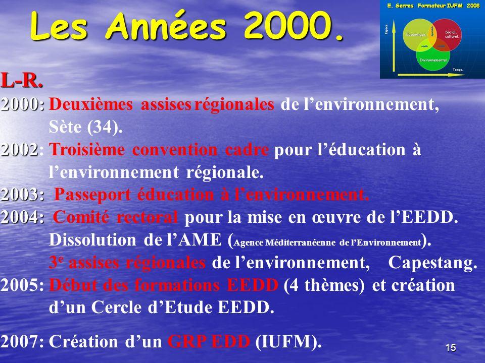 15 Les Années 2000. L-R. 2000: 2000: Deuxièmes assisesrégionales de lenvironnement, Sète (34).