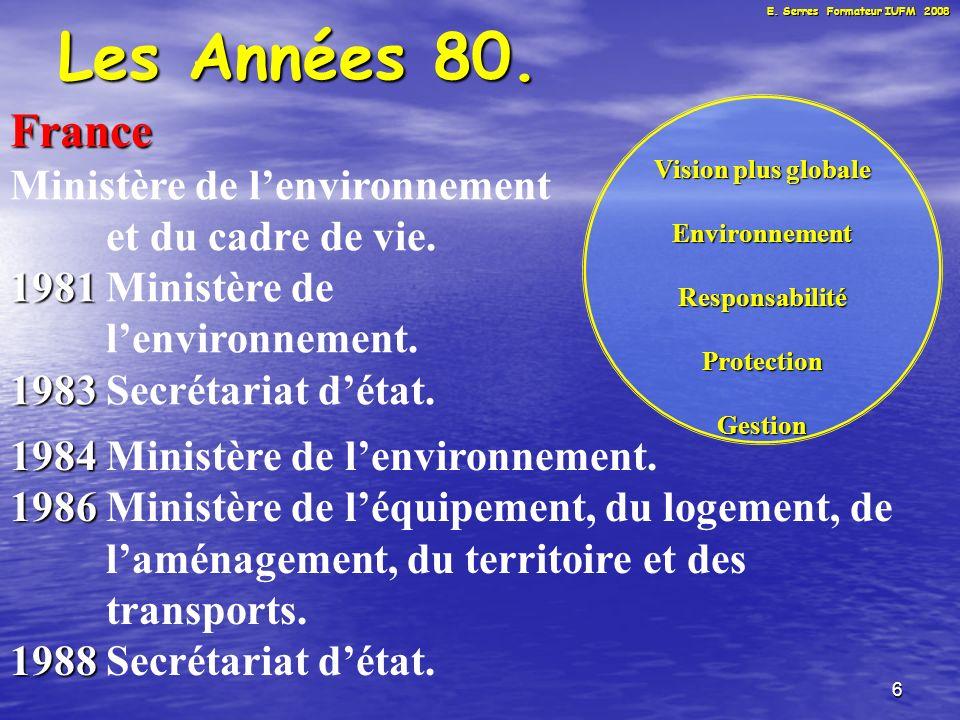 6 Les Années 80. France Ministère de lenvironnement et du cadre de vie.